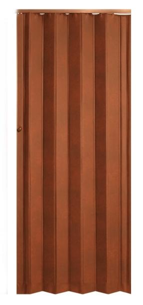 Koženkové shrnovací dveře tmavě hnědé - prosklené TYP: prosklené
